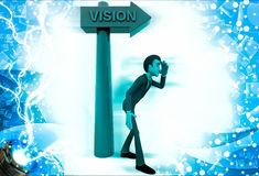 3d man in observing position before vision text in arrow illustration Royalty Free Stock Images