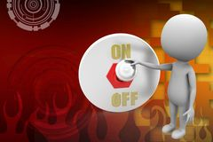 3d man with on off switch illustration Royalty Free Stock Photography