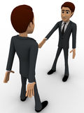 3d man offering hand for hand shake and another one is refusing it concept Stock Image