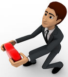 3d man offering heart on knee concept Royalty Free Stock Photography