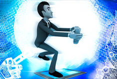 3d man offering heart on knee illustration Stock Photography