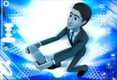 3d man offering heart on knee illustration Stock Images