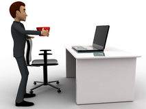 3d man in office with coffee sup and working on laptop concept Royalty Free Stock Images