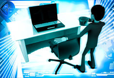 3d man in office with coffee sup and working on laptop illustration Stock Photography