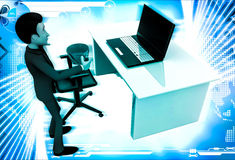 3d man in office with coffee sup and working on laptop illustration Royalty Free Stock Image