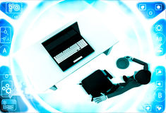 3d man in office with coffee sup and working on laptop illustration Royalty Free Stock Images