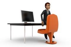 3d man office table concept Stock Photos