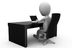 3d man office table concept Royalty Free Stock Image