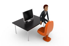 3d man office table concept Stock Images