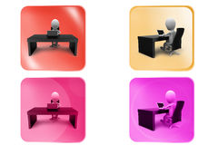 3d man office table icon Royalty Free Stock Images