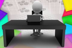 3d man office table illustration Royalty Free Stock Photography
