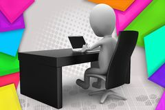 3d man office table illustration Stock Photos