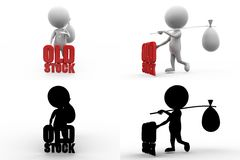3d man old stock concept collections with alpha and shadow channel Stock Photography