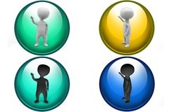 3d man one hand up icon Stock Photography