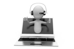 3d man online call center concept Royalty Free Stock Photography