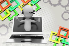 3d man online call center  illustration Stock Photography