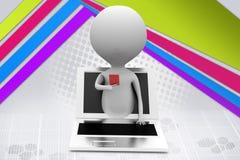3d man online card  illustration Stock Photo
