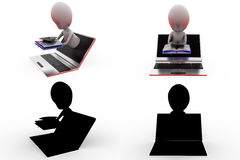 3d man online degree concept collections with alpha and shadow channel Stock Photos