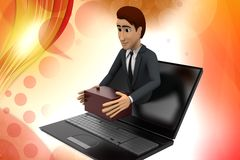 3d man online delivery illustration Stock Images
