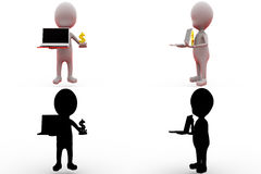 3d man online money concept collections with alpha and shadow channel Royalty Free Stock Photo