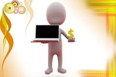 3d man online money illustration Stock Images