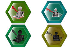 3d man online sports icon Royalty Free Stock Photo