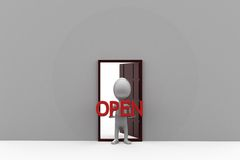 3d man open door concept Royalty Free Stock Image