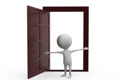 3d man with open door concept Royalty Free Stock Photo
