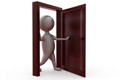 3d man open door concept Stock Images
