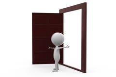 3d man with open door concept Stock Photo
