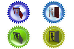 3d man open door icon Royalty Free Stock Photography