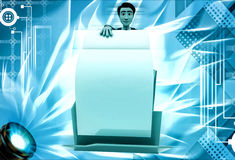 3d man open file and take paper out illustration Stock Image