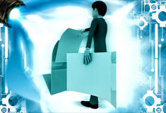 3d man open file and take paper out illustration Royalty Free Stock Photo