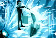 3d man open file and take paper out illustration Stock Photography