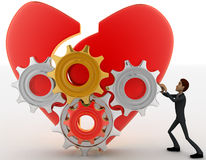 3d man with open heart and mechanical gear system concept Stock Photo