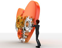 3d man with open heart and mechanical gear system concept Royalty Free Stock Photo