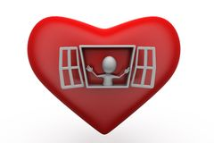 3d man open heart window concept Stock Photo