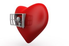 3d man open heart window concept Royalty Free Stock Photography