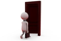 3d man opened door concept Royalty Free Stock Photos
