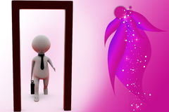3d man opened door illustration Royalty Free Stock Images