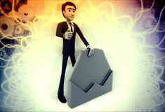 3d man with opened envelop illustration Royalty Free Stock Photography