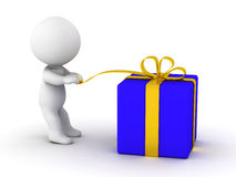 3D man opening gift Royalty Free Stock Images