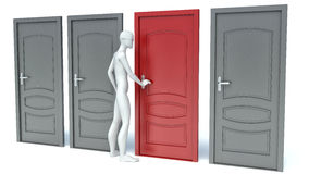3d man opens a red door Royalty Free Stock Photo