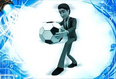 3d man about ot kick ball of soccer illustration Royalty Free Stock Photos