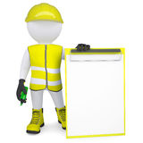 3d man in overalls with a checklist and a marker Royalty Free Stock Image
