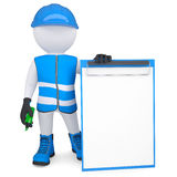 3d man in overalls with a checklist and a marker. 3d white man in overalls with a checklist and a marker. Isolated render on a white background Stock Images
