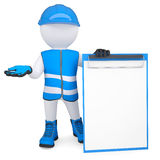3d man in overalls with a checklist. 3d white man in overalls with a checklist. Isolated render on a white background Stock Photography
