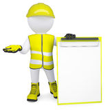3d man in overalls with a checklist Stock Photography