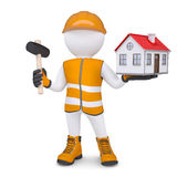 3d man in overalls with hammer and house Stock Photos