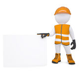 3d man in overalls holding blank business card Royalty Free Stock Image